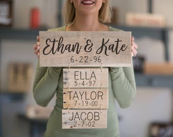 Father's Day Anniversary Gift For Her | Family Names Wood Sign | Personalized Family Name Signs | Family Established Sign