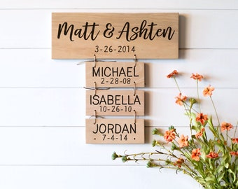 Family name sign wood, Dad Gift, Reclaimed Wood Personalized Family Name Signs, Anniversary Gift for Her, Gift for Husband, Gift for Dad