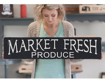 Market Fresh Produce Rustic Home Decor Wood Sign | Kitchen Signs | Farm Fresh Bakery Sign | Farmhouse Style Sign | Mom Gift | Matte Black