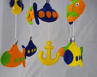 Submarine cot mobile - crib mobile - baby mobile - under the sea - nursery decor