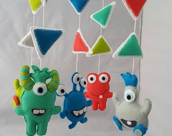 Baby mobile, alien mobile, monsters mobile,  cot mobile, crib mobile, nursery decor, boys bedroom, monsters cot mobile, monsters nursery