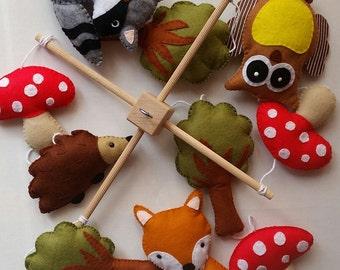 woodland baby cot mobile,  cot/crib mobile, baby mobile, nursery decoration, owl, fox, woodland nursery, new baby gift, nursery mobile