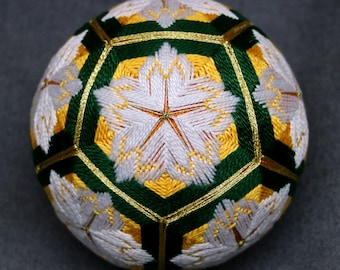 4 Inch Diameter Japanese Temari Ball (Embroidered Ornamental Ball), Gold & Green Interwoven  White Floral Pattern