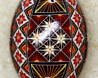 Goose Egg Pysanky (Ukrainian Easter Batik Dye Decorated Egg Pysanka) #G21
