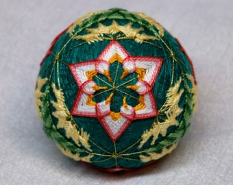 2.5 Inch Diameter Japanese Temari Ball (Embroidered Ornamental Ball), Floral Pattern with Buds & Greenery