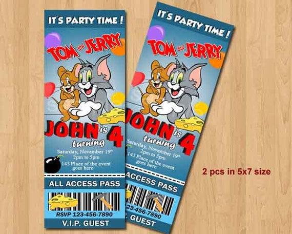 Tom And Jerry Birthday Invitation Tom And Jerry Invites Tom Etsy