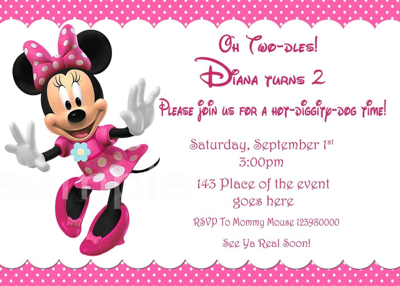 Minnie Mouse Invitation Minnie Mouse Birthday Invitation Minnie Mouse Party With Or Without Photo Layout Digital You Print
