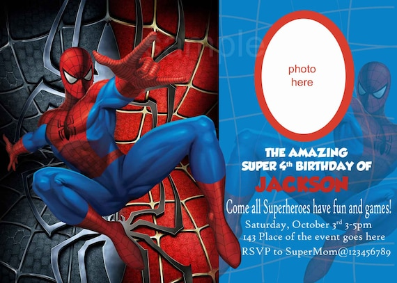 Spiderman Invitation Spiderman Birthday Invitation Digital Etsy
