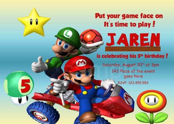 Invitación De Super Mario Invitación Del Cumpleaños De Mario Estupendo Invitación De Super Mario Bros Digital Imprimir Con O Sin Foto Diseño