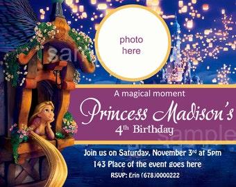 Rapunzel Birthday Invitation, Digital (you print)