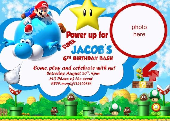 Super Mario Einladung Super Mario Bros Einladung Einladung Etsy