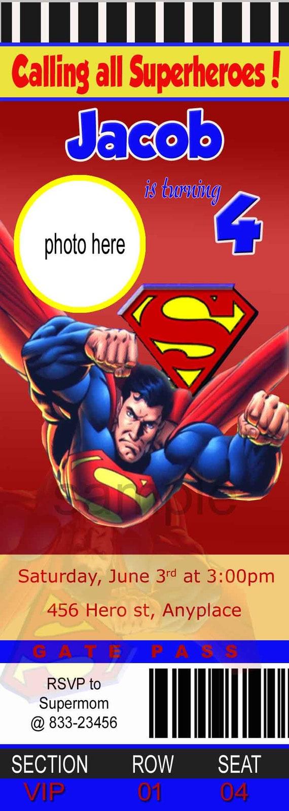Superman Invitation. Superman Birthday Invitation. Superman | Etsy