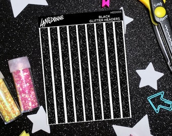 Black Sticker Label, Header Stickers Planner, Blank Sticker Labels, Planner Stickers School Student, School Supplies Stickers, Blank Headers