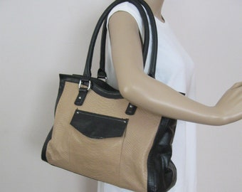 Vintage TIGNANELLO Large Size Shoulder Handbag - Black and Tan LEATHER  Designer Handbag Purse - See Details b70c88081a7b2