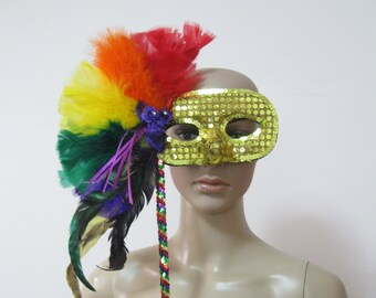 FREE SHIPPING Vintage Mardi Gras Mask with Feathers Plumage and Sequins SEE Details