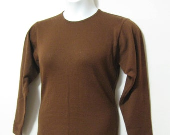 Pure Wool* Vintage Misses Size M Fits S Dark Brown Long Sleeve Sweater Light Weight Sweater SEE Details
