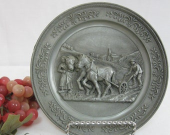 Vintage 3 Dimsional Pewter Decorator Plate Wall Hanging #Homesteaders #Farmers #Decorative Plate #3 Deminsional #Wall Decor