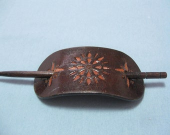 Leather and Wood Hair Accessory for Long Hair Pony Tail Holder Barrette Hair Adornment See Details