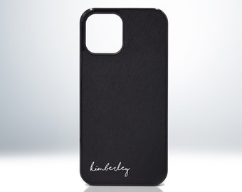 Custom Personalised Name iPhone 12 13 Leather Case. Genuine Saffiano Leather.  Matte Black. Embossed Print. Handwritten Font Script Style.