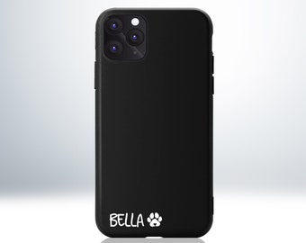 Custom Personalised iPhone Case with Paws and Heart Love Symbol. Embossed Your Name or Initial. Matte Black Phone Case. Anti-Impact TPU.