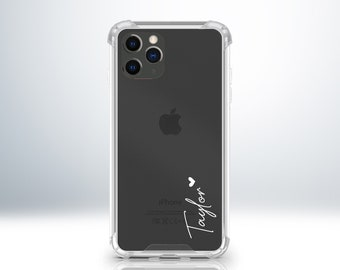 Custom Personalised iPhone Clear Transparent Case. Anti-Impact Edges. Add Your Name with Heart Symbol. For iPhone X XS XR 11 11 Pro 12 Pro.