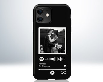 Custom Personalised Spotify Song iPhone Case. Add Your Photo and Song. Scannable QR Code. Matte Black Finish. Anti-Impact TPU Material.