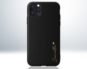 Custom Personalised iPhone Case with Beautiful Handwriting Font Style and a Love Heart Symbol. Matte Black Finish. Anti-Impact TPU Material.