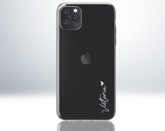Custom Personalised Phone Case for iPhone X XS XR XS Max 11 12. Anti-Impact Protective Clear Case. Your Name Embossed with Heart Symbol.