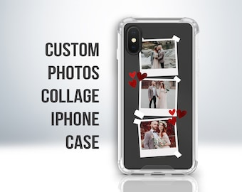 Custom Personalised Photo Collages Clear Case for iPhone 7 / 8 Plus, X, XS, XR, 11, 12. Embossed Print. Anti-Impact Protective Edges.