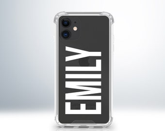 Custom Name Personalised iPhone Anti-Impact Clear Case Cover For iPhone 7 / 8 Plus / X / XS / XR / XS Max / 11 / 11 Pro / 12. Embossed.