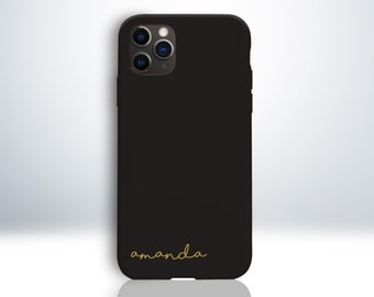 Custom Personalised iPhone Case with Handwritten Script Font Style. Embossed Your Name. Matte Black Phone Case. Anti-Impact TPU Material.