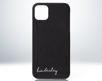 Custom Personalised Name Leather Phone Case for iPhone 7 / 8 / X / XS / XR / XS Max / 11 / 12 / 13. Embossed Print. Real Saffiano Leather.