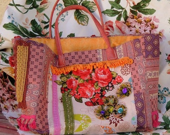Hippie chic tote bag, boho gypsy, purple