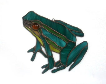 Stained Glass Suncatcher Frog Handmade Window Decor Garden decor Tiffany souvenir