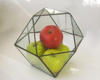Cuboctahedron Stained Glass Terrarium Geometric glass pot Contemporary planter
