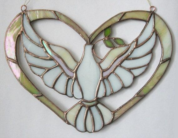Dove Holy Spirit Chrismon peace dove descending stained glass ornament