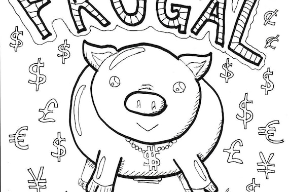 Items similar to Coloring Page, Printable - Piggy Bank ...