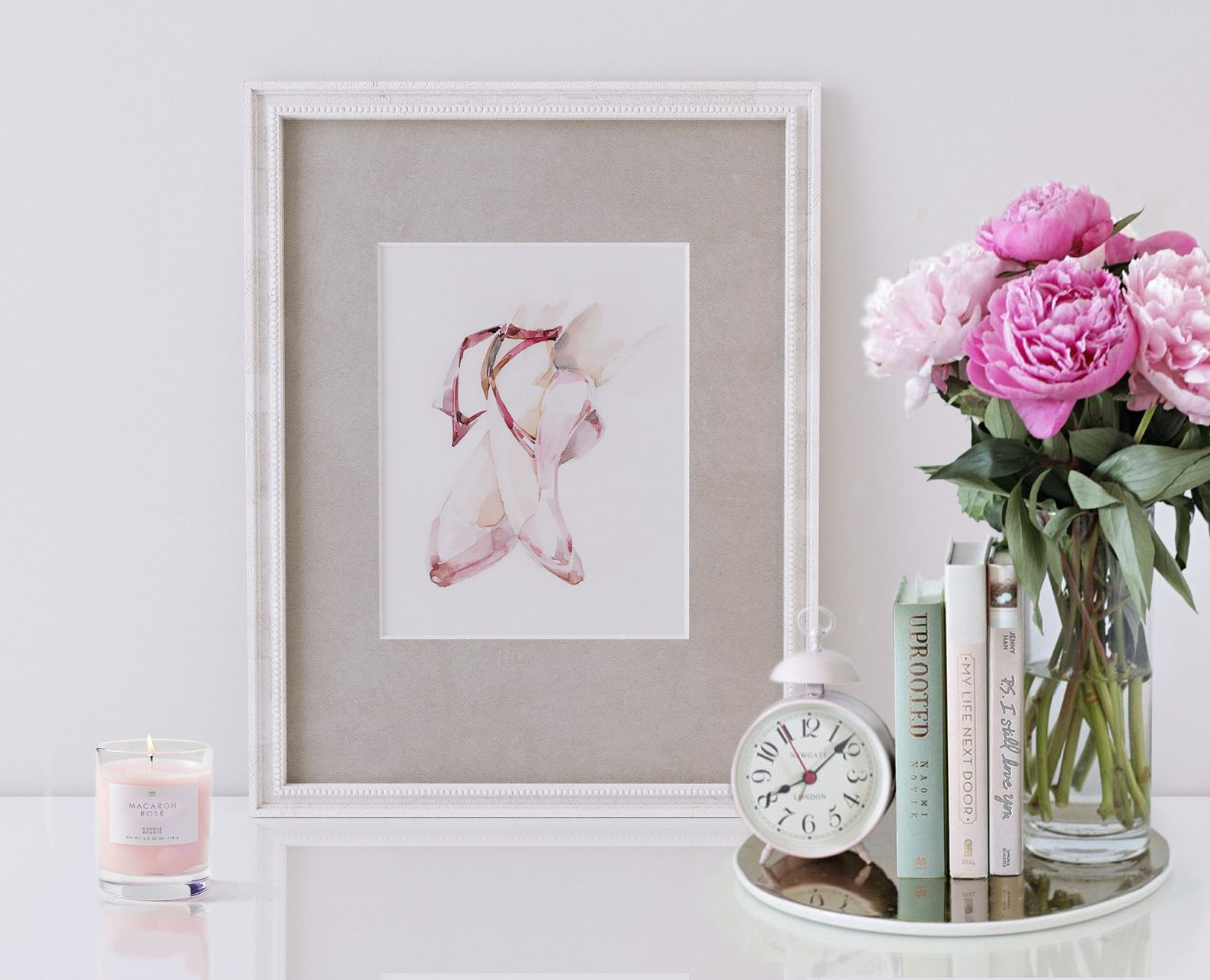 on pointes. print of original watercolor painting. tender rose. ballet shoes. bedroom wall and table decoration. marianna bobriv