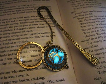 Gold bookmark// Magnifying Glass Pendant //glow in the dark
