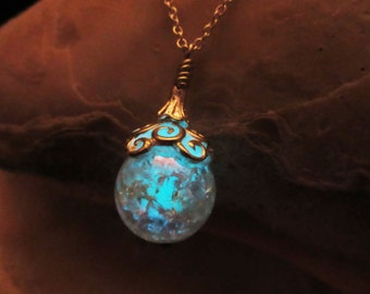 Magic ball pendant glow in the dark with sterling silver chain