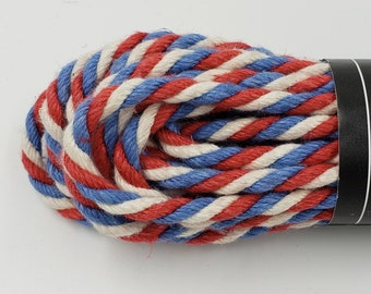 Bondage Rope Red, White, Blue Hemp Shibari 6mm Mature