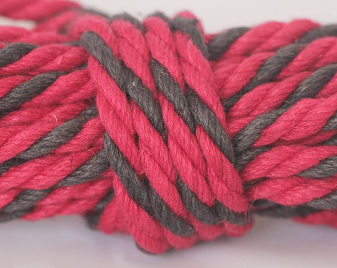 Red & Black Hemp Bondage Rope Mature