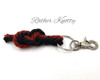 Jute Bondage Rope Infinity Knot Keychain with Split Ring and Swiveling Lobster Clasp - BDSM - Custom