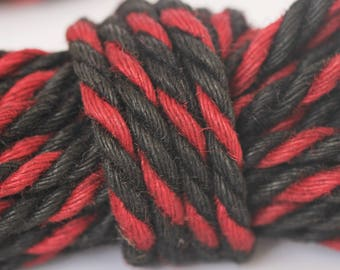 Jute Bondage Rope Red & Black 6mm Shibari Rope BDSM Mature