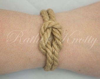 Jute Bondage Rope Square Knot Bracelet - Choose your color - BDSM - Custom