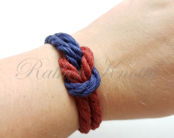 Two-Toned Square Knot Jute Bracelet - choose your two favorite colors - BDSM - Custom
