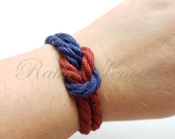 Two-Toned Square Knot Jute Bracelet - choose your two favorite colors - BDSM - Custom