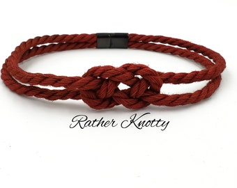 Jute Bondage Rope Necklace Collar with Carrick Bend Knot and Black Stainless Steel Slider Clasp - Choose your color - BDSM - Custom