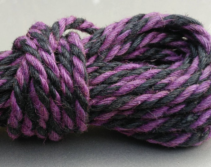 Jute Bondage Rope Black and Purple Shibari Rope