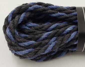 Hemp Bondage Rope Black & Blue Shibari 6mm Mature